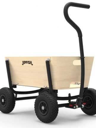 jipfish kids wagon natural wood black frame