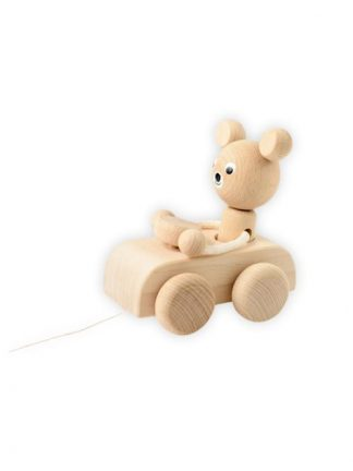 Sarah and Bendrix - Hugo - Wooden Pull-Along Bear In the Car