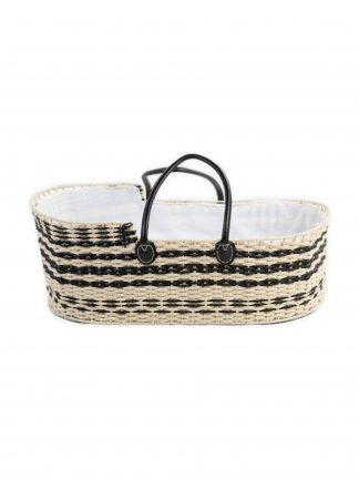Childhome Moses Basket met zwart leer
